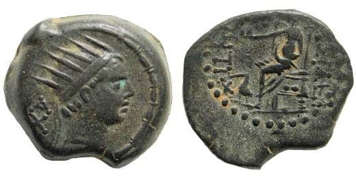 Ancient Coins - Seleukid Kings, Antiochos IV Epiphanes. 187-175 BC. AE 17mm (4.68 gm, 12h). Uncertain southern mint. SNG Spaer 1175 var. (control mark in exergue); Houghton 985 (this coin)