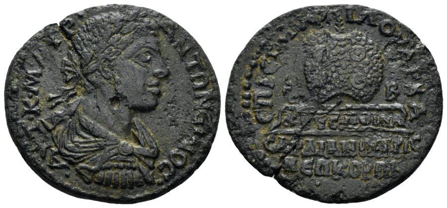 Ancient Coins - Lydia, Sardeis. Elagabalus, 218-222 AD. AE 29mm (11.03 gm). RPC Online 4505. Very rare.