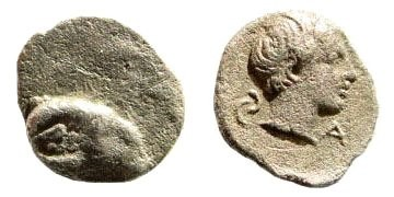 Ancient Coins - Caria, uncertain. First half 4th century BC. AR Persic Hemiobol (0.34 gm, 9mm). SNG Helsinki I, 873