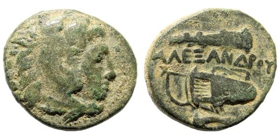 Ancient Coins - Macedonian Kings, Alexander III, The Great, 336-323 BC. AE 18mm (4.90 gm). Uncertain mint. Price 323; SNG Copenhagen 1057
