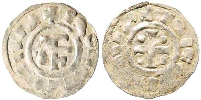 World Coins - France, Rouen. Richard I, 943 - 996. AR Denier (1.18 gm, 20mm). Dumas, Fécamp, 4147
