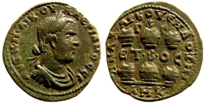 Ancient Coins - Cilicia, Anazarbus. Valerian I. 253-260 AD. AE 27mm/ Hexassaria (14.17 gm). Year 272, 253-4 AD. Ziegler 833 (same dies)