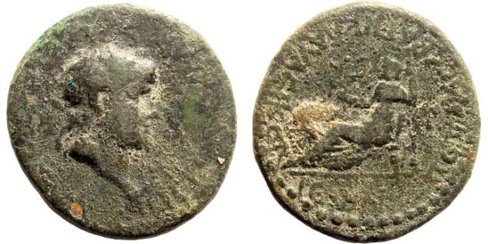Ancient Coins - Lycaonia, Claudiconium. Nero, 54-68 AD. AE 27mm (12.60 gm). RPC I, 3544