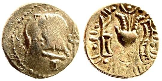 Ancient Coins - Arabia, Himyarites. 1st Century BC. AR Light Denarius (2.00 gm, 15mm). SNG ANS 1503