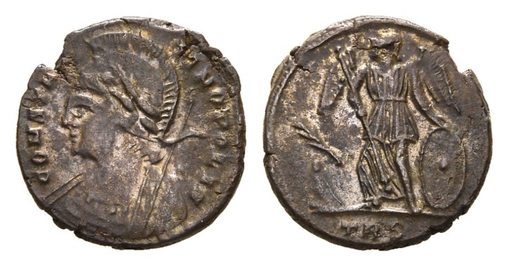 Ancient Coins - Constantinopolis, 330-335 AD. AE Follis (2.86 gm, 17mm). Trier mint. Officina 2. LRBC 86