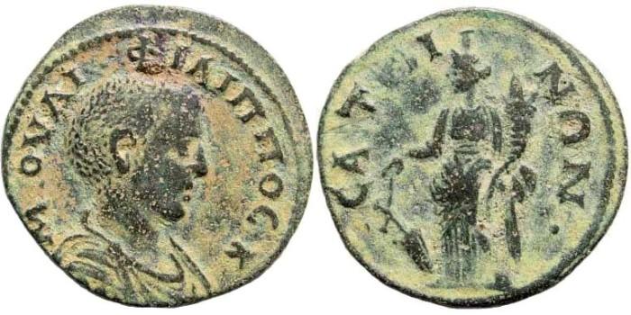 Ancient Coins - Phrygia, Saitta. Philip II  Caesar, 244-247 AD. AE 24mm (6.83 gm). BMC 226, 71. SNG München 449 (same obv. die)