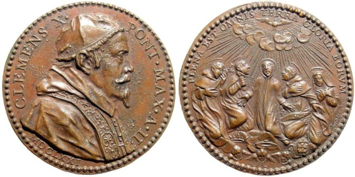 Ancient Coins - Italy, Papal Medals. Clement X, 1670-1676. AE Medal (31mm, 14.09 gm). Hamerani (?), engraver. Dated year 2, 1671. Miselli 18c