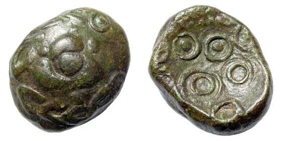 "Ancient Coins - Germania, Upper Rhine Area. AE ""Rainbow-cuplet"" (7.14 gm, 17mm). Castelin 1101"
