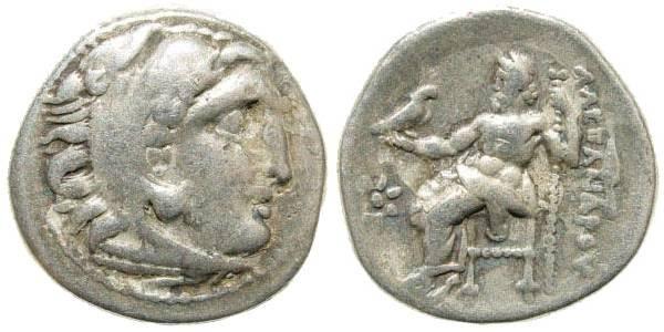 Ancient Coins - Macedonian Kingdom, Alexander III, 336-323 BC, AR Drachm (4.00 gm, 18mm). Colophon mint, 323-319 BC. Price 1760
