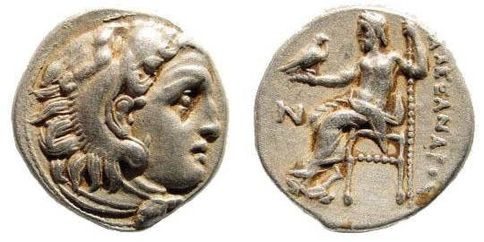 Ancient Coins - Macedonian Kings. Alexander III the Great. 336-323 BC. AR Drachm (4.22 gm, 18mm). Colophon mint. Struck circa 310-301 BC. Price 1797b