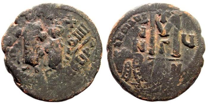 Ancient Coins - Heraclius, 610-641 AD. AE Follis (10.7 gm, 28mm). Constantinople mint. Sear 805