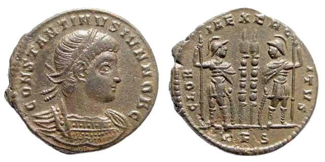 Ancient Coins - Constantine II, as Caesar, 317-337 AD. AE Silvered Follis (2.74 gm, 18mm). Rome mint, 335-336 AD. RIC VII 328