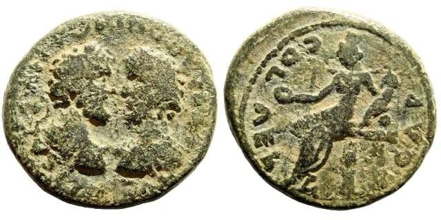 Ancient Coins - Judaea, Aelia Capitolina (Jerusalem). Marcus Aurelius & Lucius Verus, 161-180 AD. AE 25mm (13.27 gm). Meshorer 55 (same dies)