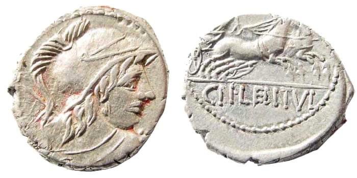 Ancient Coins - Cn. Lentulus Clodianus. 88 BC. AR Denarius (3.82 gm, 18mm). Rome mint. Crawford 345/1; Sydenham 702