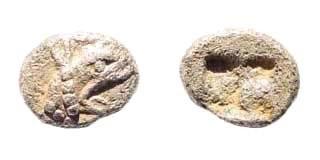 Ancient Coins - Ionia, Teos. Circa 475-450 BC. AR Tetartemorion (0.31 gm, 6.5/4.5mm). SNG Kayan 602