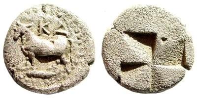 Ancient Coins - Bithynia, Kalchedon. Circa 340-320 BC. AR 1/5th Siglos (1.10 gm, 11mm). SNG BM Black Sea 124