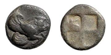 Ancient Coins - Ionia, Klazomenai, 5th century BC, AR Obol (0.90 gm, 10mm). SNG Helsinki II, 237