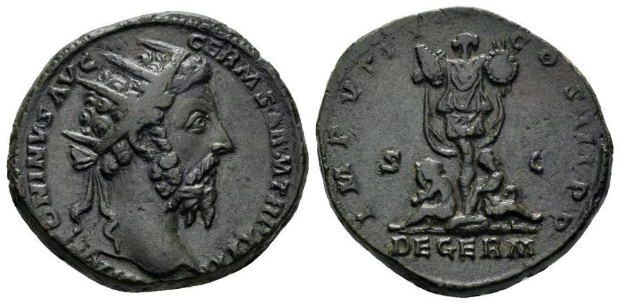 Ancient Coins - Marcus Aurelius. 161–180 AD. AE Dupondius (12.76 gm, 24mm). Rome mint. Struck 176-177 AD. RIC 1179