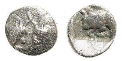 Ancient Coins - Caria, uncertain mint. Circa 394-387 BC. AR Tetartemorion (0.20 gm, 7mm). Klein, Sammlung von Griechischen Kleinsilbermünzen und Bronzen, 502