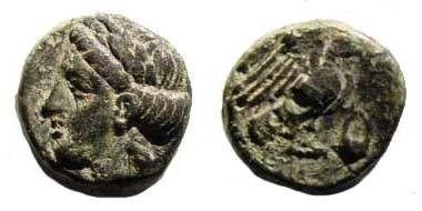 Ancient Coins - Ionia, Halikarnassos, 3rd-2nd century BC, AE 11.21 mm (1.78 gm.). SNG Copenhagen 348