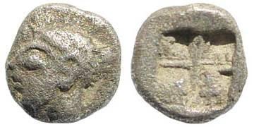 Ancient Coins - Ionia, Kolophon. Late 6th century BC. AR Hemiobol (0.18 gm, 5mm). SNG Kayan 348