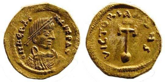 Ancient Coins - Heraclius, 610-641 AD, AV Semissis (2.22 gm.). Constantinople, Off. S. Sear 784; Ratto 1284