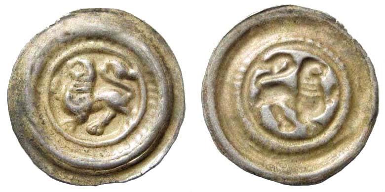 World Coins - Braunsweig-Lüneburg. Wilhelm, duke of Saxony, 1202-1213. AR Brakteat (0.62 gm.). Lüneburg mint. Berger 373