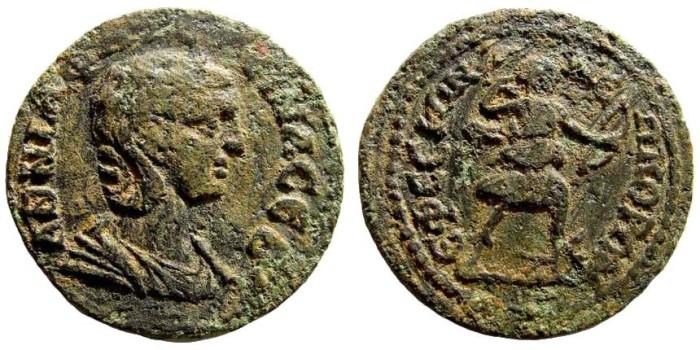 Ancient Coins - Ionia, Ephesos. Annia Faustina, 221 AD. AE 30mm (12.90 gm). SNG München 187. Rare