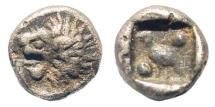 Ancient Coins - Ionia or Karia, uncertain mint. Miletus (?). 420-390 BC. AR Tetartemorion (0.29 gm, 6mm). Klein 431