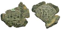 Ancient Coins - Constantine IV Pogonatus, with Heraclius and Tiberius. 668-685. AE Follis (4.04 gm, 30mm). Syracuse mint. SB 1207