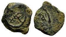 Ancient Coins - Judaea, Herodians. Herod I, 40-4 BC. AE 1/2 Prutah (1.18 gm, 14mm). Jerusalem mint. Struck circa 27-24 BC. Hendin 1185. Rare