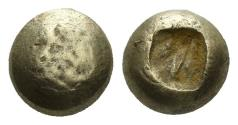 Ancient Coins - Ionia, Uncertain. Circa 650-600 BC. EL Hemihekte - 1/12th Stater (1.13 gm, 7mm). Lydo-Milesian standard. Karwiese, Artemision, Type I