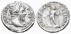 Ancient Coins - Septimius Severus. 193-211 AD. AR Denarius (2.73 gm, 18.5mm). Rome mint. Struck 205 AD. RIC IV 196