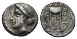 Ancient Coins - Ionia, Kolophon Circa 330-310 BC. AR Hemidrachm. (1.42 gm, 12mm). Leodamas, magistrate. Milne Kolophon 87A