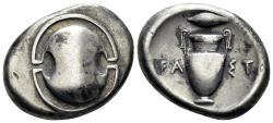 Ancient Coins - Boeotia, Thebes. Circa 395/390-338 BC. AR Stater (11.95 gm, 24mm). Magistrate Fast.... Hepworth 36; SNG Delepierre 1302