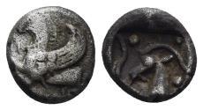 Ancient Coins - Karia, Halikarnassos? Before 480 BC. AR Obol (0.85 gm, 8.5mm). Cf. BMC Caria pg. 102, 1-2