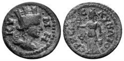 Ancient Coins - Aiolis, Kyme. 253-260 AD. AE 17mm (2.60 gm). Hermias, magistrate. SNG Copenhagen 133. Rare