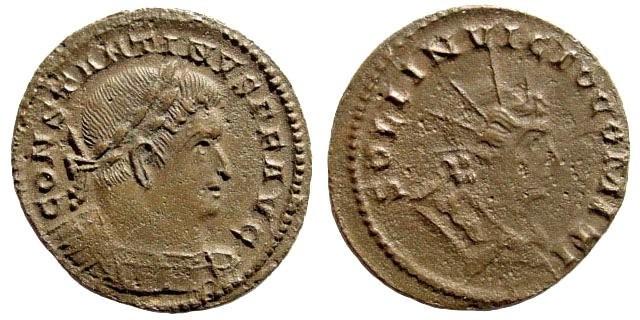 Ancient Coins - Constantine I. 306-337 AD. AE Follis (4.20 gm). Trier mint, 310-313 AD. Cohen 514; RIC 893