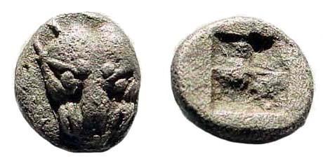 Ancient Coins - Thraco-Macedonian Region, Uncertain. 5th century BC. AR Hemiobol (0.24 gm, 6mm). Tzamalis 55