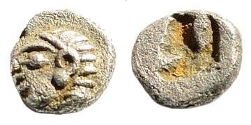 Ancient Coins - Ionia, Kolophon. Circa late 6th Century BC. AR Tetartemorion (0.19 gm, 4mm). SNG Kayhan 342; SNG von Aulock 1808