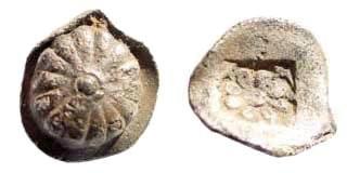 Ancient Coins - Ionia, Erythrai. Circa 480-450 BC. AR Hemiobol (0.33 gm, 7mm). Klein coll. 387. Rare