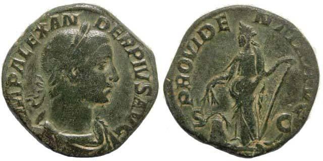 Ancient Coins - Severus Alexander. 222-235 AD. AE Sestertius (25.87 gm). Struck 231 - 235 AD. BMC 953; Cohen 449; RIC 538