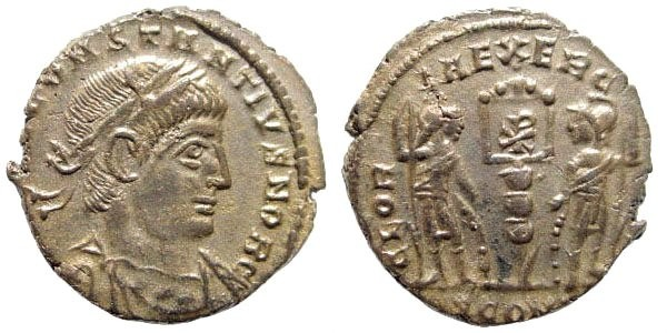 Ancient Coins - Constantius II, 324-361 AD. AE Silvered 3/4 (1.74 gm, 16mm). Arles mint, 336 AD. RIC 396