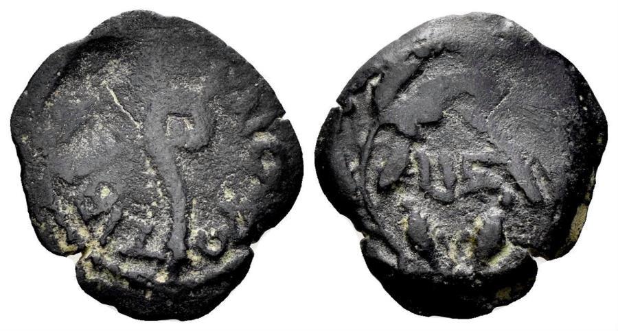 Ancient Coins - Judaea, Roman Procurators. Pontius Pilate, 26-36 AD. AE Prutah (1.75 gm, 17mm). Hendin 1342; RPC I 4968