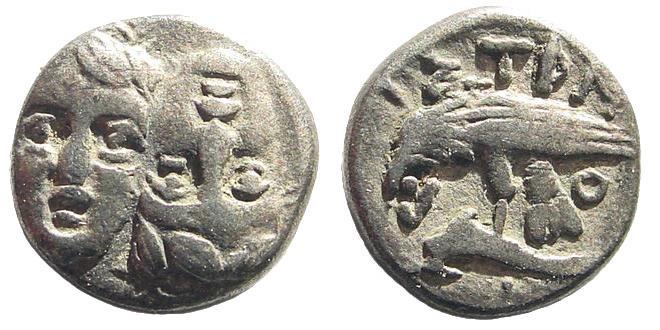 Ancient Coins - Moesia, Istros. 4th century BC. AR Obol (0.85 gm, 10mm). SNG Black Sea -; SNG Copenhagen -