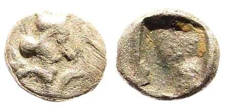 Ancient Coins - Achaemenid Empire. Time of Dareios I, circa 510-486 BC. AR (0.15 gm, 5mm). Carradice Type 2. Klein 760