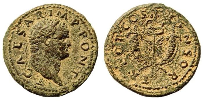 Ancient Coins - Vespasian. 69-79 AD. For Titus Caesar. AE Dupondius (12.97 gm, 29mm). Commagene, 72-74 AD. RIC 813