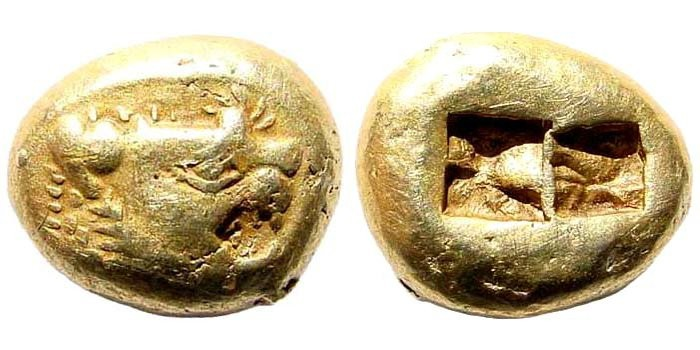 Ancient Coins - Lydian Kingdom. Alyattes II to Kroisos. Circa 610-546 BC. EL Trite – 1/3 Stater (4.73 gm, 12mm). Sardes mint. Weidauer group XVI, 86-89