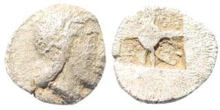 Ancient Coins - Ionia, uncertain mint. Kolophon or Magnesia. 5th century BC. AR Hemiobol (0.27 gm, 7.5mm). SNG Tübingen 2750
