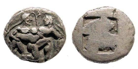 Ancient Coins - Islands off Thrace, Thasos. Circa 500-463 BC. AR Stater (7.69 gm). SNG Copenhagen 1008